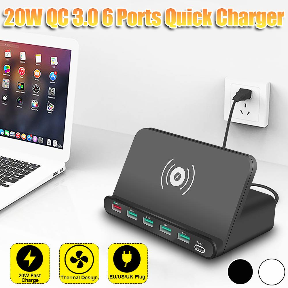 Wireless Quick Charge 6 Ports Fast Charger <font><b>USB</b></font> PD <font><b>20W</b></font> <font><b>Power</b></font> <font><b>Adapter</b></font> Mobile Phone Room Office Desktop Wireless Quick Charger image