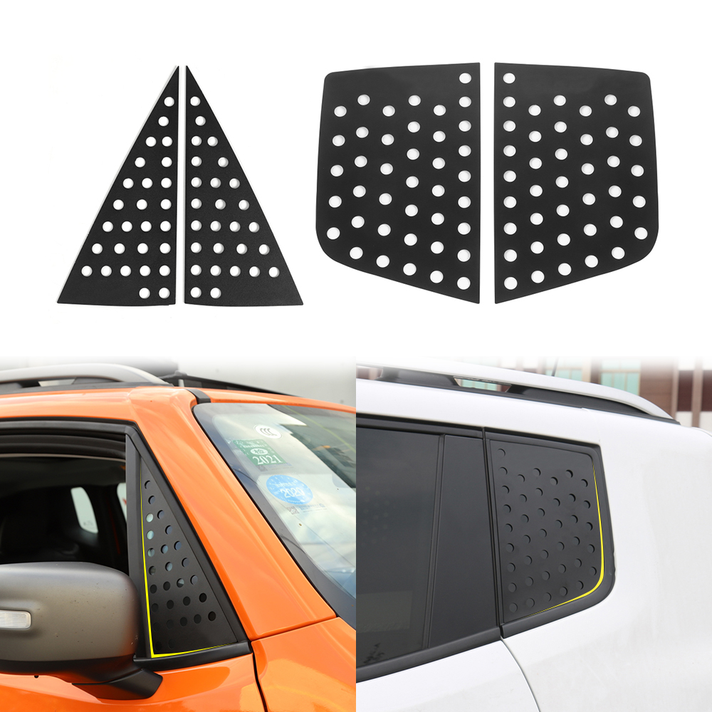 Exterior Accessories for Jeep Renegade 2016-2019 Jeep Renegade Car Orange Front and Rear Window Aluminum Alloy Covers