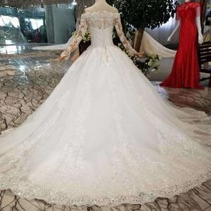 Image 2 - HTL108 della boemia abito da sposa come il bianco al largo della spalla con scollo a barchetta lungo di tulle appliques maniche розовое платье