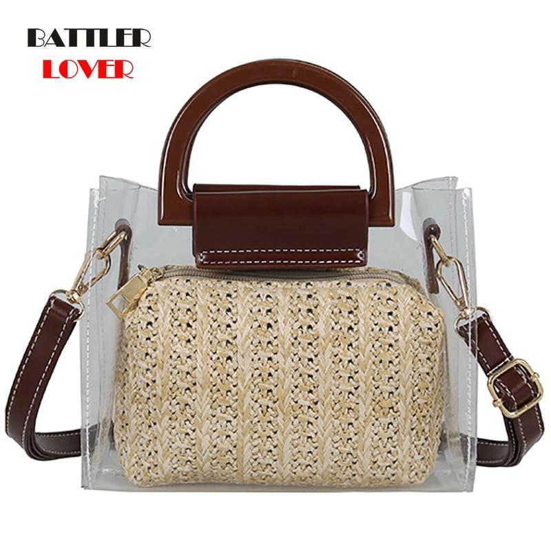 Leather Handle Straw Weave Handbag Women
