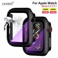 Nova capa completa para apple assistir série 5 4 3 2 1 fibra de carbono amortecedor caso quadro rígido com filme de vidro para iwatch protetor de tela|Caixas de relógios|   -