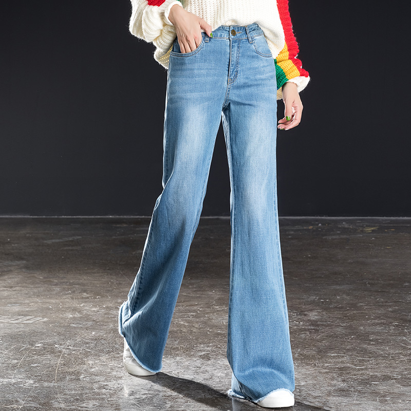 Shangege autumn new high waist jeans ladies wide leg pants contrast color loose personality retro flared trousers in Jeans from Women 39 s Clothing