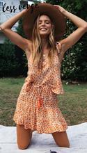 Lessverge 2020 Summer Flower print V neck Skater dress Women boho beach mini dress Spring print dress цена 2017