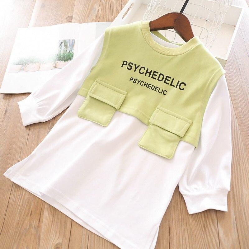 Весенние комплекты для девочек, длинная футболка с буквенным принтом для девочек и жилет с буквенным принтом - Цвет: light green