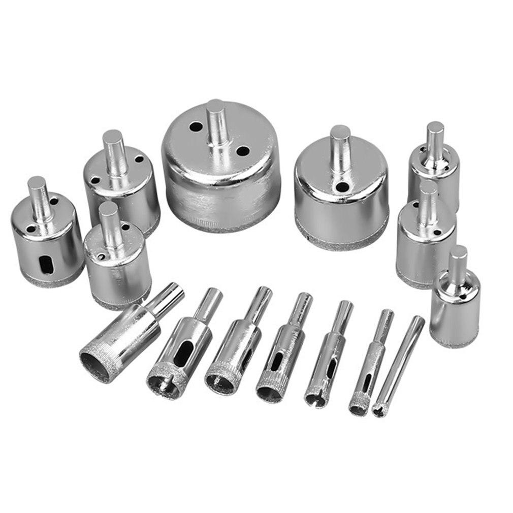 15pcs Diamond Coated Drill Bit Set Tile Marble Glass Ceramic Hole Saw Drilling Bits For Power Tools Kit 6mm-50mm