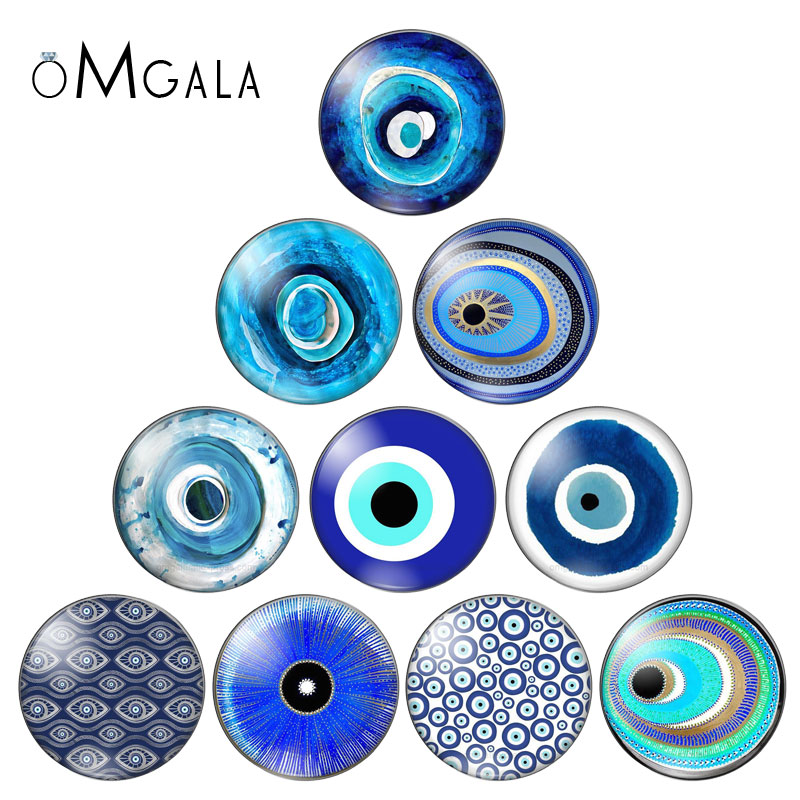 Fashion Blue Color Evil Eyes 10pcs 12mm/18mm/20mm/25mm Round Photo Glass Cabochon Demo Flat Back Making Findings