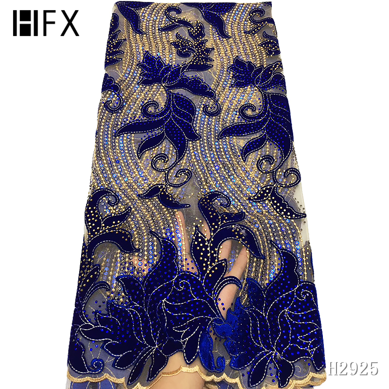 HFX Latest African Lace Fabric 2019 High Quality Velvet Lace Royal Blue Nigerian Lace Fabrics For Wedding Dress 5yards H2925