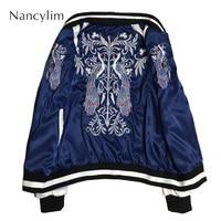 Spring Autumn Satin Baseball Jacket on Both Sides Wear Short Jacket Heavy duty Embroidered Couple Jackets Femme and Male Street