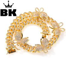 THE BLING KING 12mm CZ Rotate butterfly Necklace Iced Out Zircon custom Color Luxury Bling Jewelry Fashion Hiphop For Men(China)