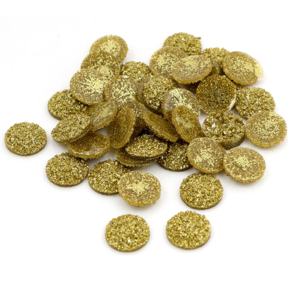 New Fashion 40pcs 12mm Gold Colors Natural Ore Style Flat Back Resin Cabochons For Bracelet Earrings Accessories-G7-15