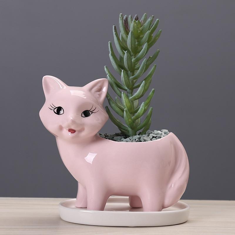 Суккулент растение горшок +милый животное цветок кашпо цветочный горшок креатив милый маленький кошка дизайн дом сад декор бонсай горшки