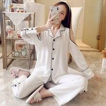 2021 New Arrival Luxury Silk Pajamas For Women Long Sleeve 2 Pcs Cardgian Lapel Pajama Sets Female Night Sleepwear Home Clothes