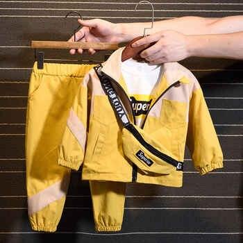 2020 Новый Модный комплект (пальто + штаны + сумка), Корейская версия детской одежды для мальчиков и девочек на весну и осень, детская одежда из 2...
