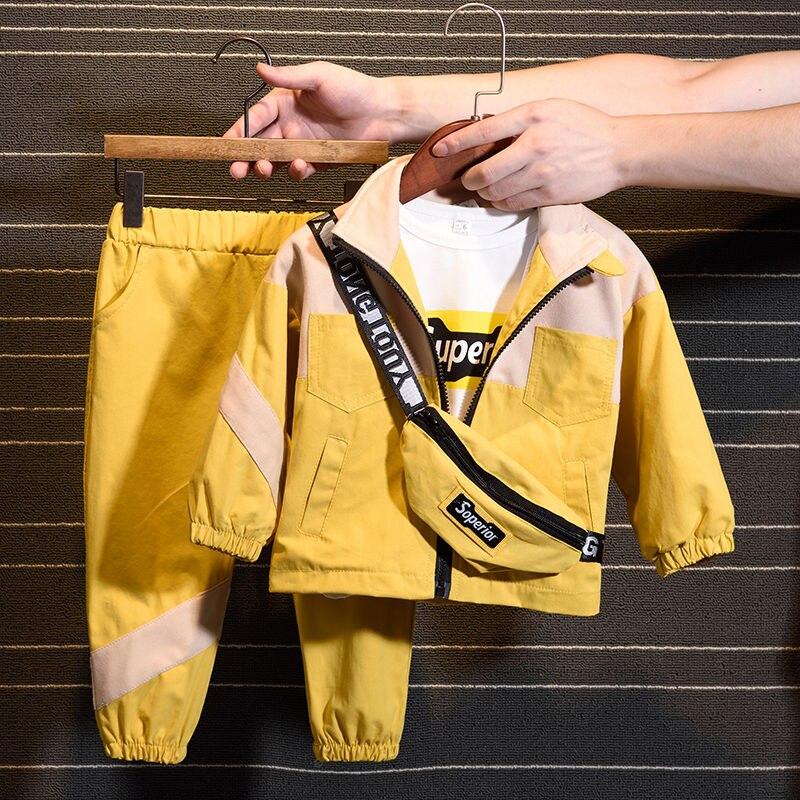 2020 New Fashion Set (Coat+ Pant+Bag) Korean Version Of The Children's Boys Girls Spring Autumn Two-piece Children's Clothes