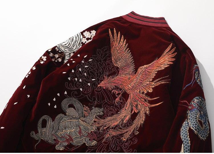 Aolamegs jaqueta masculina grande bordada, dragão chinês,