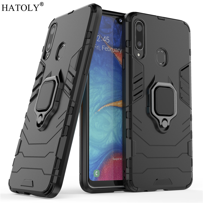 For Samsung Galaxy A20S Case Cover for Finger Ring Hard PC Phone Protective Armor