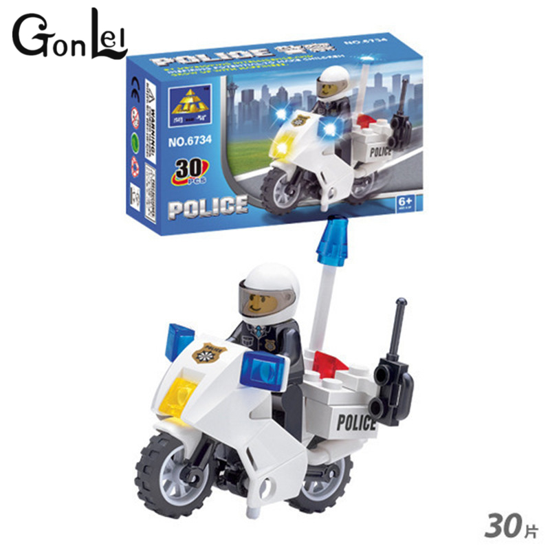 KAZI 6734 Police Motorcycle Building Blocks Compatible With Legoinglys City Police Motorbike Bricks Kids Boys Birthday Toys