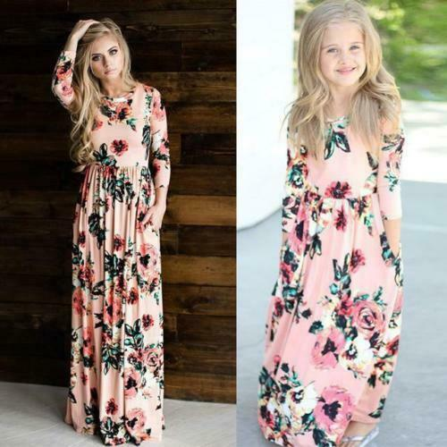 Mother Daughter Matching Dresses Mommy And Me Holiday Casual Maxi Long Dress