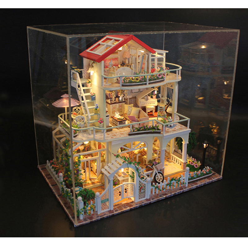 Wooden DIY Doll House Model Toys For Everlasting Light Dollhouse Mini Building Minature With Dust Cover Dolls House 13845