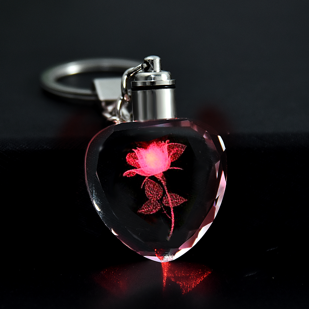 Fashion Colorful Fairy Rose Flower Pattern Love Shape Crystal Rhinestone LED Light Keychain Lover Key Chain Keyring Jewelry