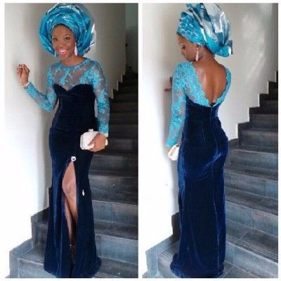 Sexy Blue African Evening Gown With Hijab Side Slit Velvet Long Sheath Lace Appliques Formal Party Mother Of The Bride Dresses