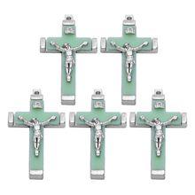 5x Metal Christ Jesus Cross Luminous Pendant Glow in the Dark Crucifix Ornaments Fashion Jewelry religious gift to say prayers
