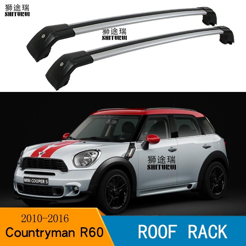 shiturui 2pcs roof bars for mini cooper countryman r60 4 door 2011 2016 aluminum alloy side bars cross rails roof rack luggage