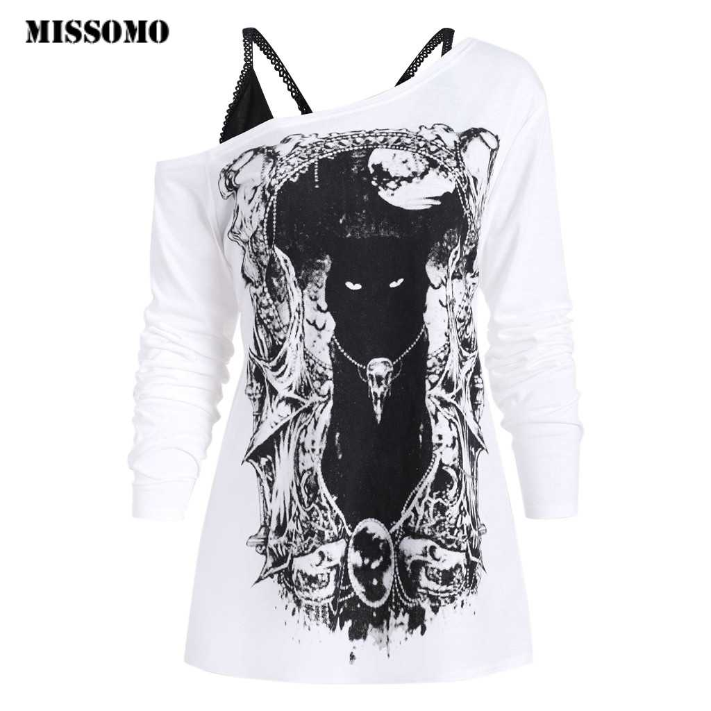 MISSOMO Vintage t shirt women clothes 2019 Skew Neck Sexy Cold Shoulder Cat Doge Print Gothic Tee With Cami Tops camiseta mujer