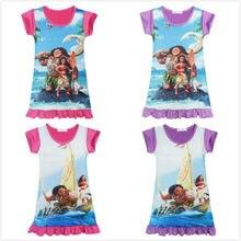 Letnie dzieci dziewczyny sukienki Vaiana Maui sukienka dla dziewczynek ubrania Cartoon Moana sukienka z nadrukiem dzieci kostium księżniczki kostiumy dla dzieci