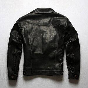 Image 5 - 年!送料無料。ヴィンテージスタイルのオイルワックスホースハイドジャケット、クラシックカジュアル557本革のコート、高品質革の服