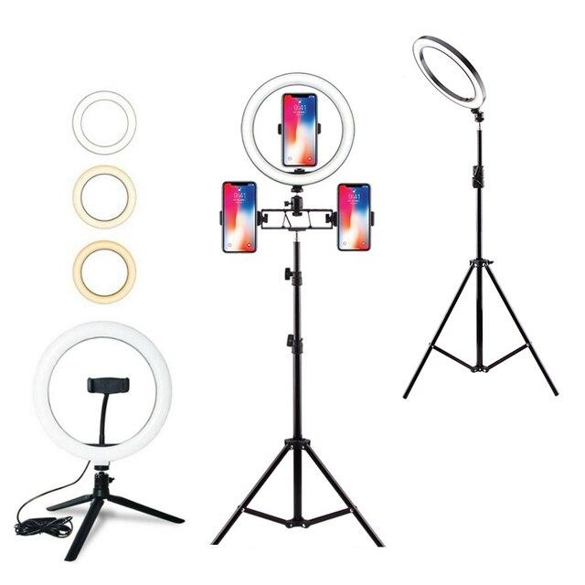 Светодиодный кольцевой светильник с регулируемой яркостью и подставкой для штатива, держатель для телефона, настольный USB светильник для селфи, кольцевой светильник для макияжа, Youtube, TikTok Vlog