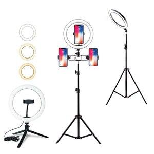 Светодиодный кольцевой светильник с регулируемой яркостью и подставкой для штатива, держатель для телефона, настольный USB светильник для с...