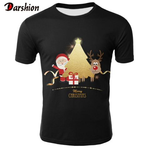 2019 Spring Men's Brand Clothing Male Christmas Xmas Santa Print Short Sleeve Tee Shirt Top Tshirt Homme Large Size Dropshipping