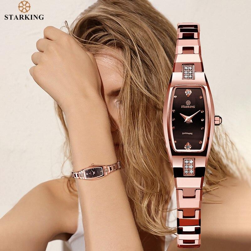 STARKING Jewelry Watch Woman Quartz Sapphire Crystal Watch Tungsten Steel Wristband Small Dial Ladies Clock montre femme 2020
