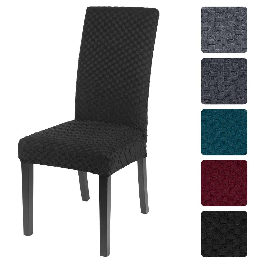 Katı örme jakarlı sandalye kılıfı s Spandex yemek sandalye kılıfı düğün için yemek odası ofis ziyafet Housse 1/2/4/6 adet