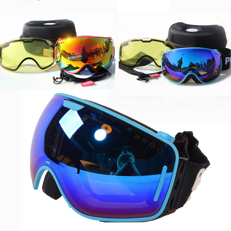 Nouveau hiver Double couches UV400 Anti-buée grand masque de Ski lunettes détachable Double lentille neige Snowboard Ski lunettes de Ski