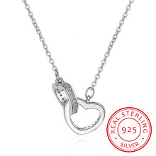 925 Sterling Silver Double Heart Circle Cz Zirconia Pendants Necklaces For Women Gift Kolye Choker Chain Collares S-n69(China)