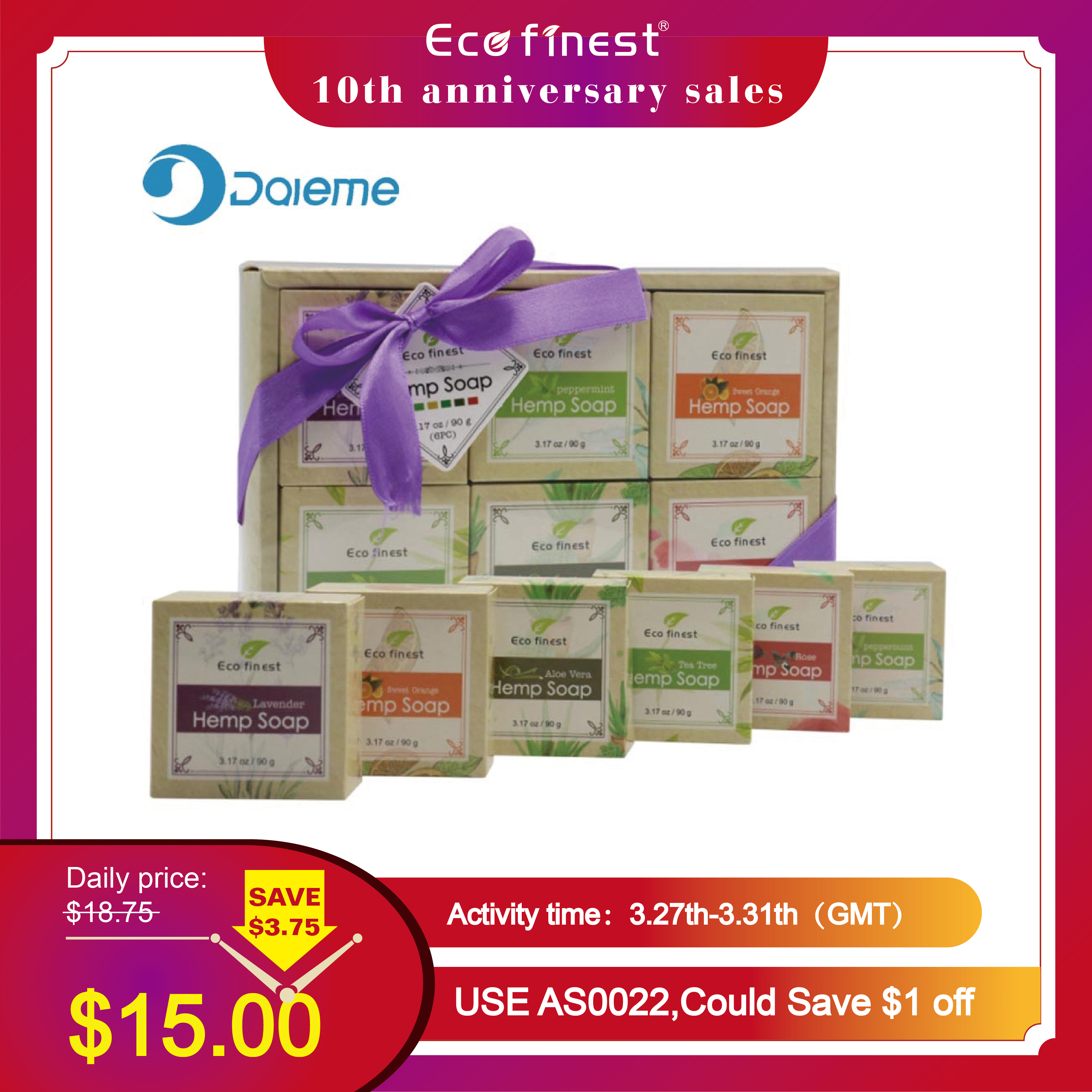 ECO Finest 6 Pcs Natural Organic Melt Handmade Hemp Oil Tea Tree Rose Organic Soap Skin Care Revitalizing Scent With Lavender
