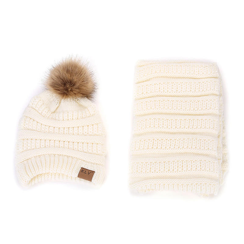 Autumn Winter Women Knitted Striped Wool Beanie Hat Scarf Sets Casual Warm Women Warm Fur Pompom Beanies + Warm Female Scarves