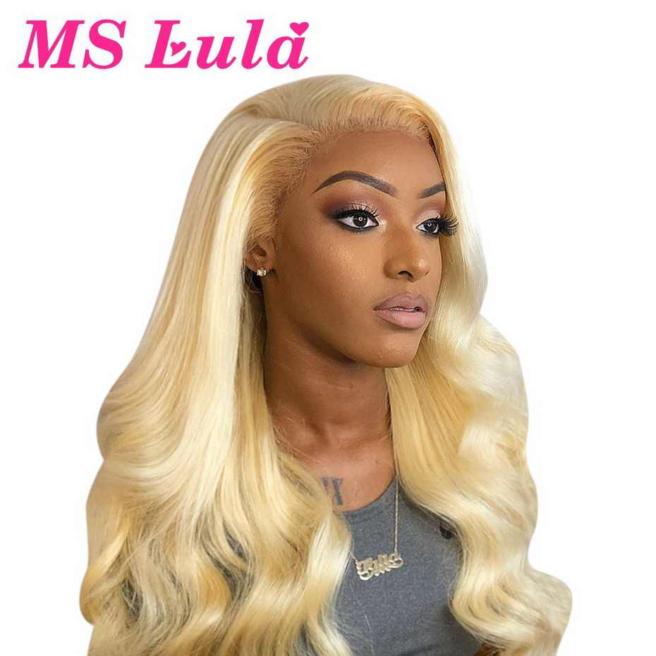 13x6 613 Blonde Lace Front Wig Pre Plucked Remy 150 Density MS Lula Colored Human Hair Wigs Brazilian Body Wave Lace Frontal Wig