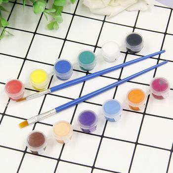 Dzieci edukacyjne zabawki malowanie palcami zestaw narzędzi malowanie z 12 kolorów pigmentu sztuka dla dzieci DIY zabawki dać 2 szczotki tanie i dobre opinie crazy spin Z tworzywa sztucznego Rysunek zabawki zestaw 3 lat Farby nauka notebook kolorowania notebook TOY312 can no eat