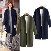 Army Green Standing collar Wool Coat Women Pocket Casual Long Sleeve Autumn Winter Blends Outerwear Oversize Trench Coat