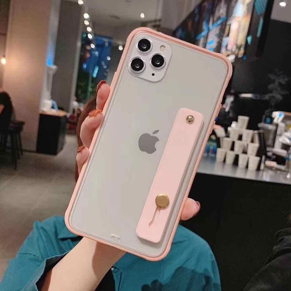 LOVECOM odporny na wstrząsy pasek na rękę etui na telefon dla iPhone 11 Pro Max XR XS Max 6 6S 7 8 Plus X miękki TPU cukierki kolor powrót opakowanie na prezent
