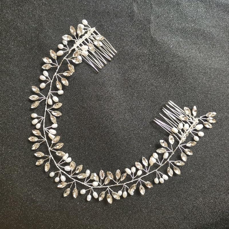 SLBRIDAL Handmade Wired Crystal Rhinestones Freshwater Pearls Wedding Hair Vine accessories Bridal Headband Women Jewelry