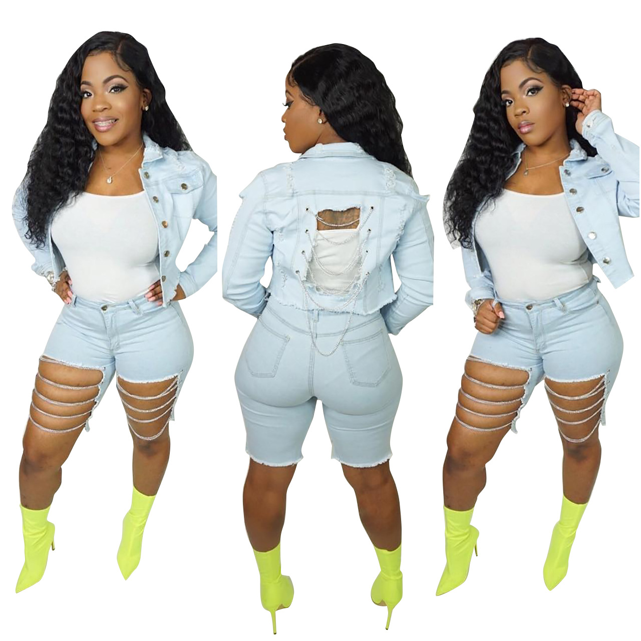 2 Piece Denim Set Jean Crop Jacket Hollow Out Design Jean Shorts Women Summer Long Sleeve Single Breasted Plus Size Sexy Clothes