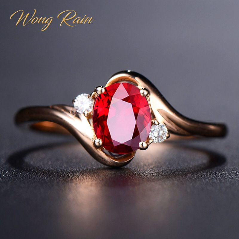 Wong Rain Vintage 100% 925 Sterling Silver Ruby Gemstone Wedding Engagement Rose Gold Ring Wedding Bands Fine Jewelry Wholesale