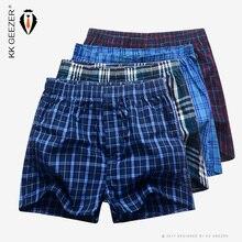4 Pcs/Packag Men Plaid Underpants Boxers 100% Cotton Shorts Underwear Male High Quality Loose Comfortable Sleep Bottoms Panties