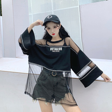M cotton stitching mesh T-shirt female 2019 summer new street hip-hop sexy perspective loose cool black shirt tide