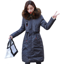 KMVEXO 2019 Winter Solid Jacket Women Long Cotton Padded Outerwear Female Coat With Colorful Fur Hooded Pakas