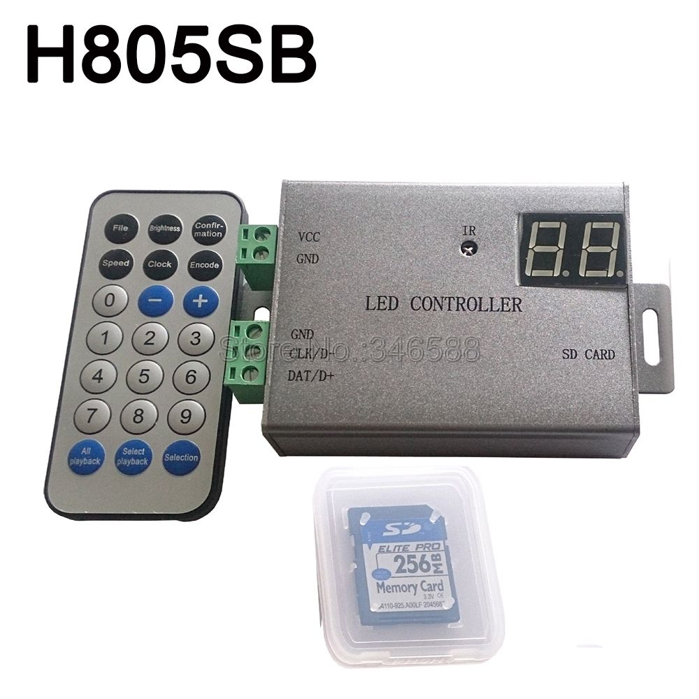 H805SB Pixel LED contrôleur de bande Support WS2812 WS2811 APA102 DMX512 etc.1 contrôle de port 4096 Pixels télécommande sans fil